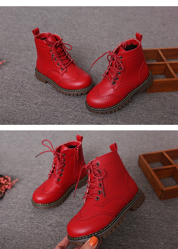 New Girl Leather Martin Boots Shoes For Girls Children Non-slip Warm Boots Fashion Soft Bottom Boys Girls Boots Kids SneSneakers
