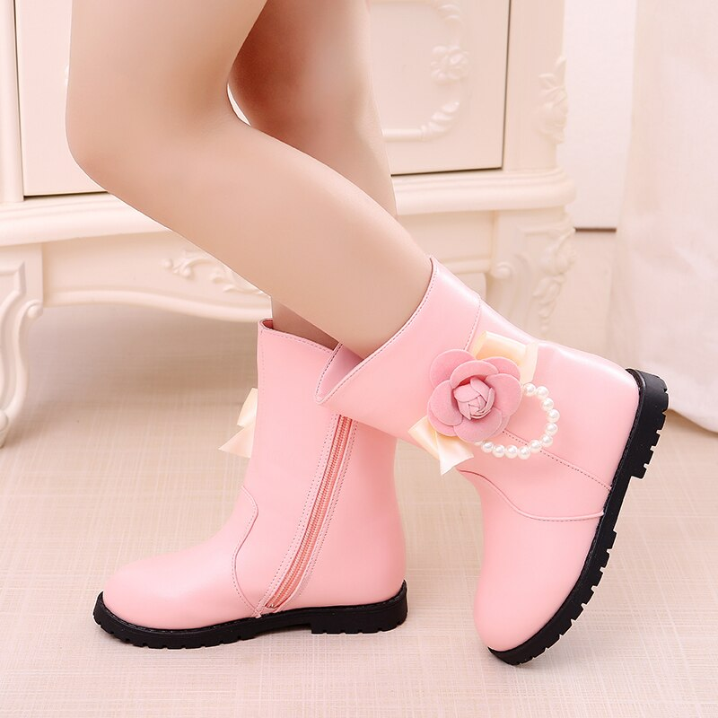 Kids Boots 2019 New Princess Fashion Flower Beading Little Girl winter Shoes Big Children Boots 3 4 5 6 7 8 9 10 11 12 Year Old