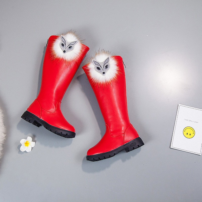 2019 Fur Autumn Winter Girls Leather Boots School Fashion Princess Knee-length Snow Boots Warm Shoes Children Rubber Martin Boot