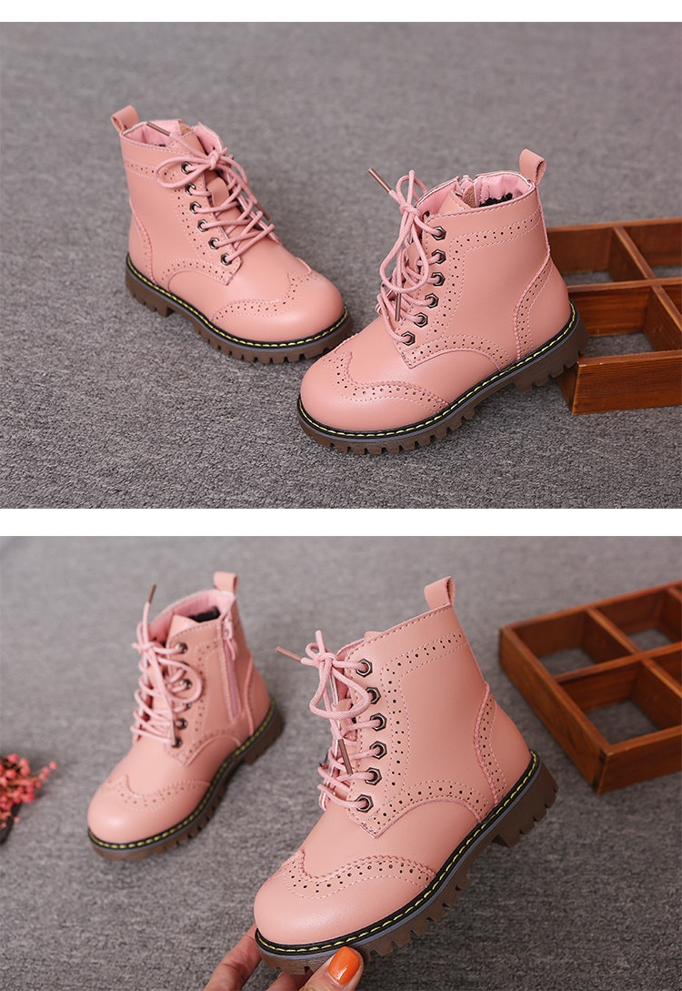 MHYONS 2020 Girls Martin Boots Shoes For Girls Children Warm Boots Fashion Soft Bottom Boys Girls Boots Non-slip Kids Sneakers