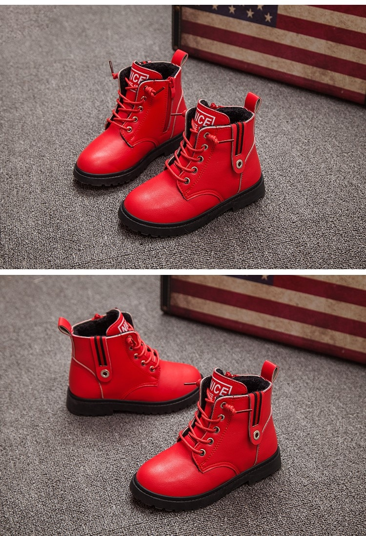 New 2020 Kids Boots Winter Boots For Boys Girls Martin Boots Casual Walking Outdoor Leather Plush Children Snow Boots Kids Shoes