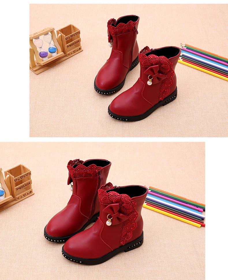 Bow Lace Kids Ankle Boots For Big Girls Winter Fashion Snow Boots Children Princess Non-Slip Shoes 4 5 6 7 8 9 10 11 12 Years
