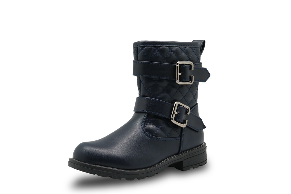 Apakowa Spring&Autumn Mid-Calf Girl Boots for Kids Cotton-Padded  Pu Leather Shoes for Girls Fashion Motor Boots with Buckles