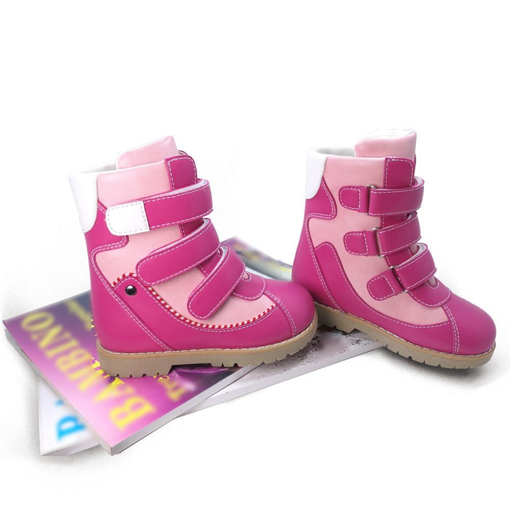 Children Kids Cool High-top Corrective Orthopedic Boots Fur Linning Winter Shoes Microfiber Leather Snow Boots for Boys Girls