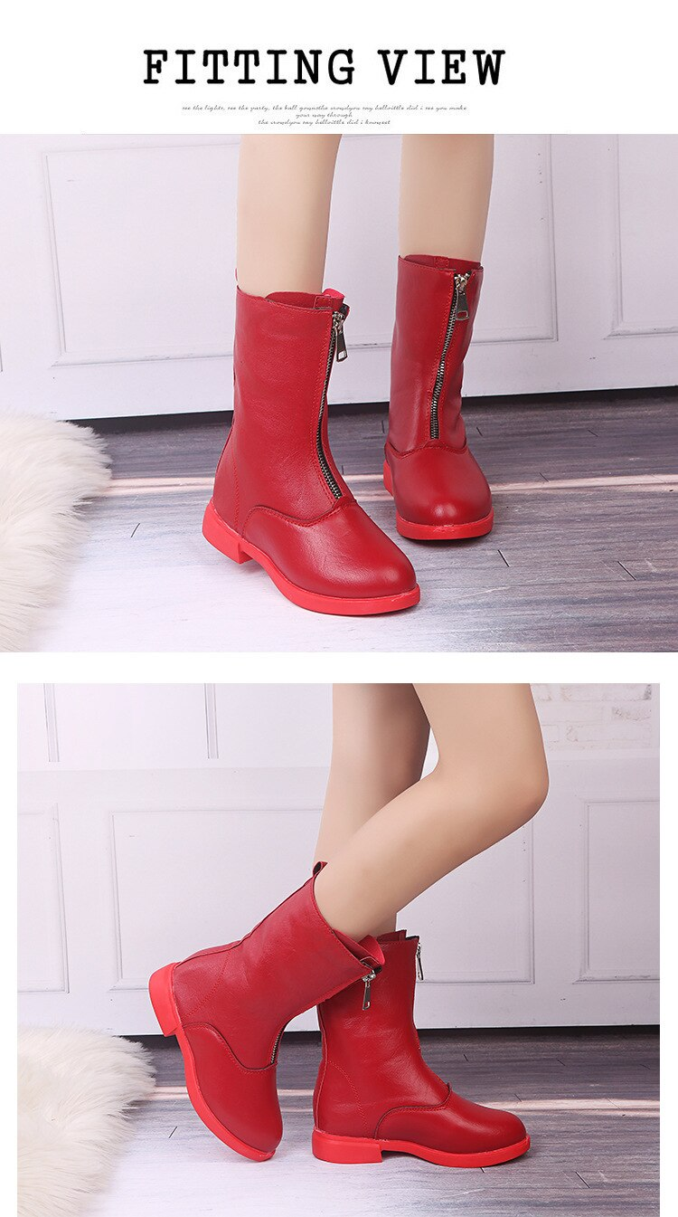 2020 Winter Girls Boots Kids Fashion Motorcycle Boots Children Rubber Boots Warm Simple Zipper Mid-calf Handsome Autumn Boots