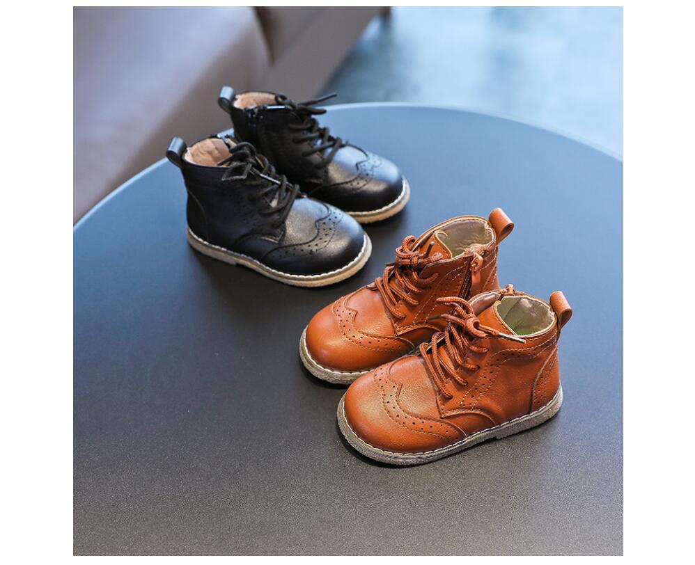YWPENGCAI 2020 Autumn Kids Boots Lace-up Zip Boys Martin Boots Size 21-30 Toddler Fall Boots Soft PU Leather Girls Ankle Boots
