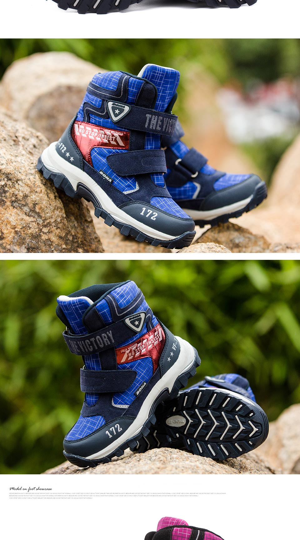 BONA New Classics Style Children Boots Mesh Girls Snow Boots Hook & Loop Boys Outdoor Fashion Sneakers Shoes Fast Free Shipping