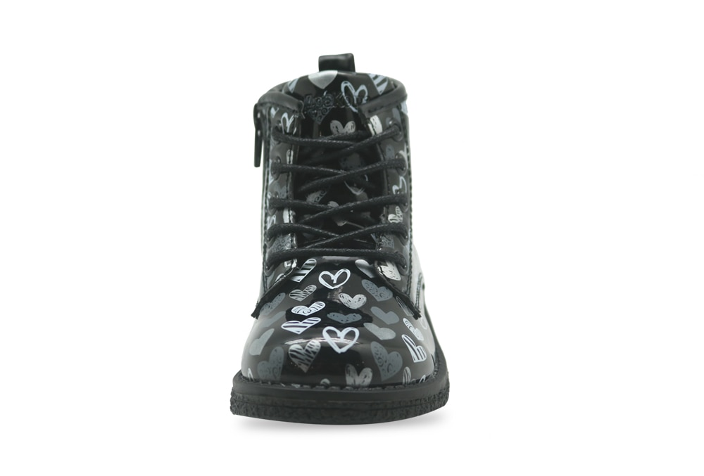 Apakowa Toddler Baby Girls Classical Lace-up Martin Boots Little Kids Spring Autumn Fashion Black Rubber Ankle Boots with Zipper