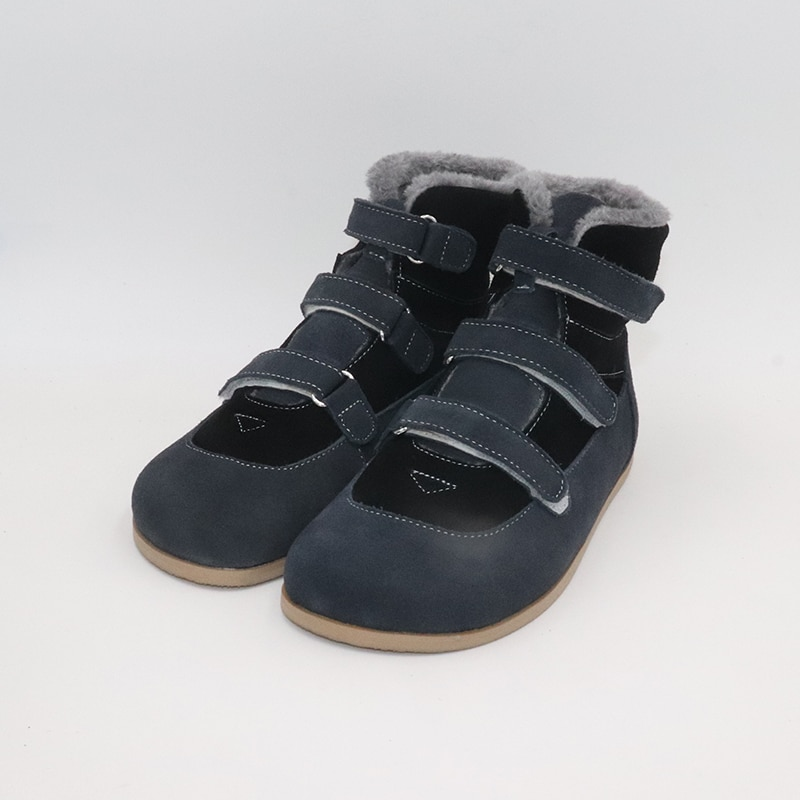 TipsieToes Top Brand Barefoot Genuine Leather Baby Toddler Girl Boy Kids Shoes For Fashion Winter ZigZig Sole Boots