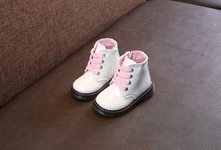 New Children's Shoes White PU Girl's Fashion Boots Children's Martin Boots Kid Short Boots Waterproof  Toddler Boots