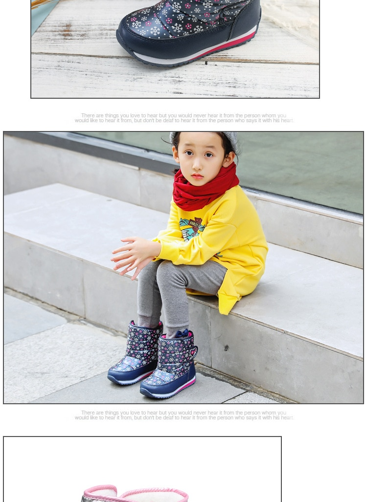 ULKNN Girls Boys Winter Boots Wool Lining For Children Snow Boots Waterproof Oxford cloth Ankle Kids footwear Non-slip Shoes