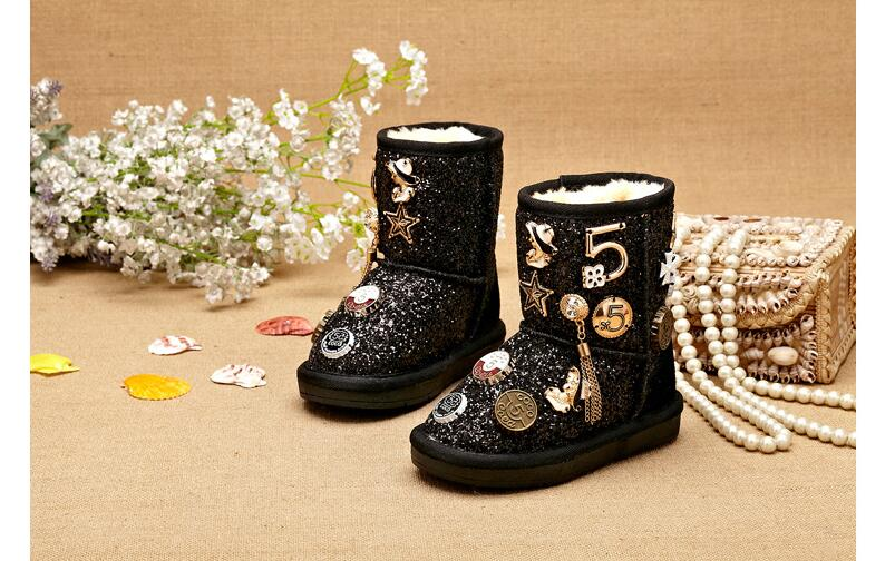 Size 26-37 Fashion Metal Decoration Children Winter Boots Thick Warm Fur Kids Snow Boots Girls Shiny Sequined Boots