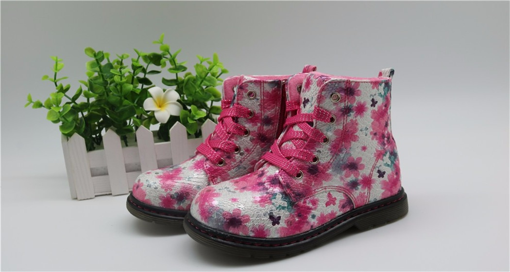 Spring Fall Winter Children Ankle Boots Girls Shoes Kids PU Leather Patchwork Slip-resistant Girls Fashion Martin Boots