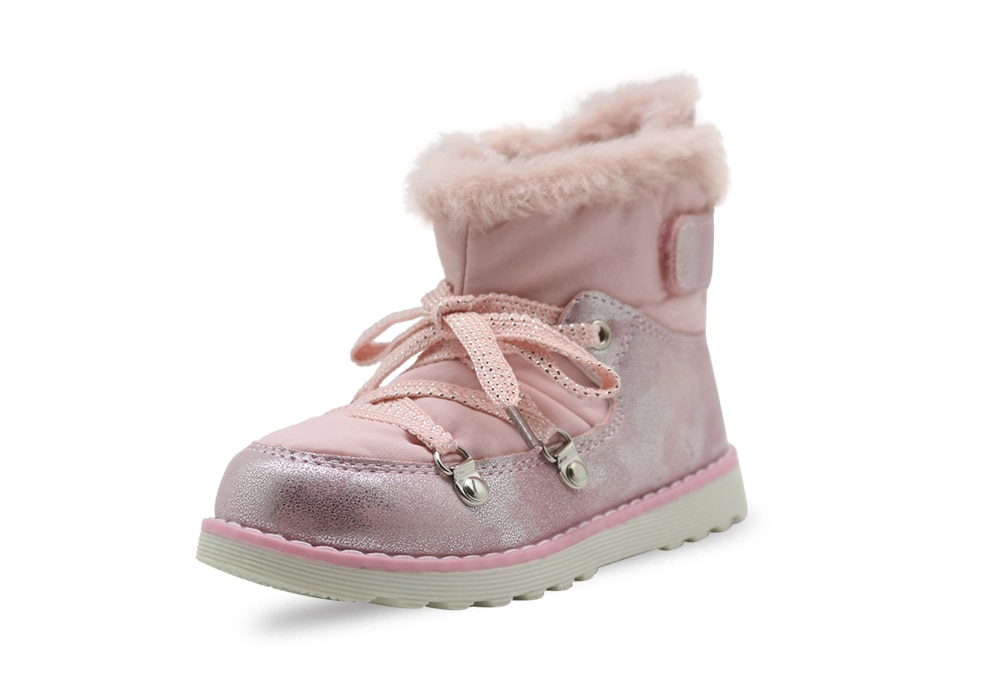 Apakowa Baby Girls Autumn Spring Fashion Short Ankle Boots Toddler Kids High-Top Classic White Pink Lace-up Rubber Walking Boots