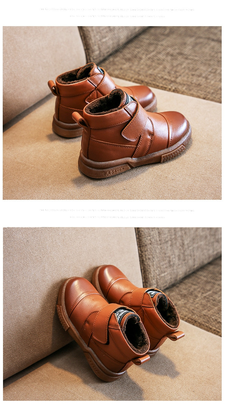2019 autumn children's shoes kids Martin boots solid color new leather boys and girls for boots low tube Korean version of wild