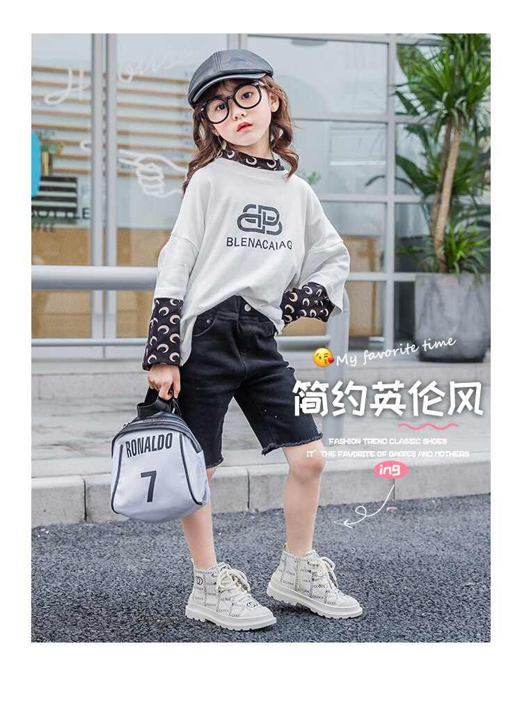 BAMILONG Fashion Girls Martin Boots Autumn New Princess Short Boots Spring High Quality Soft Bottom Leisure Children Boots S235