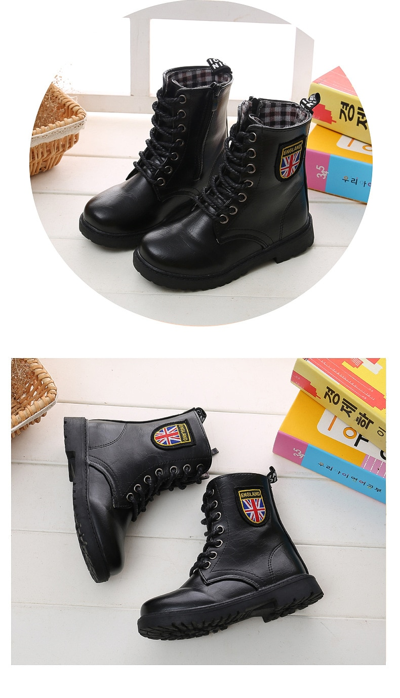 Children Leather Army Boots Lacing Up Waterproof Stage Shoes Black Non-slip Boy Girl Mid-calf Boot