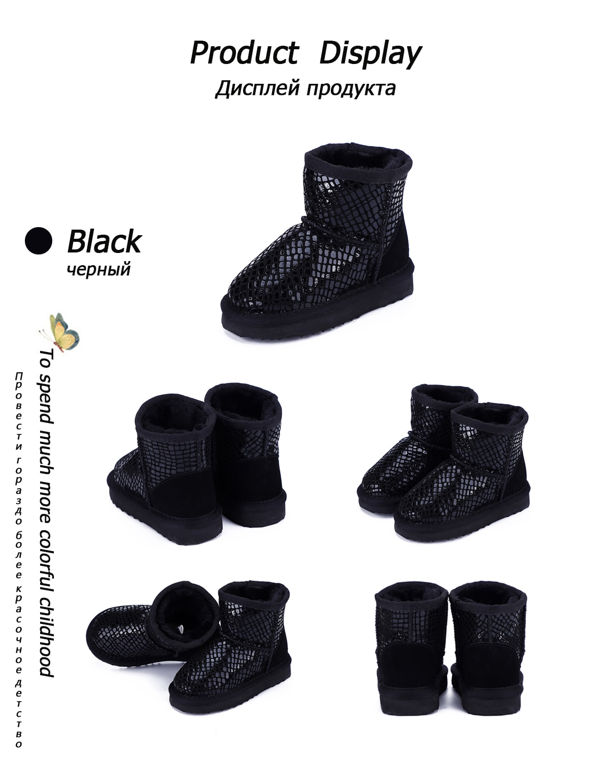 MBR FORCE 2020 New winter children's snow boots boys girls Genuine leather ankle boots warm and Waterproof plush children shoes