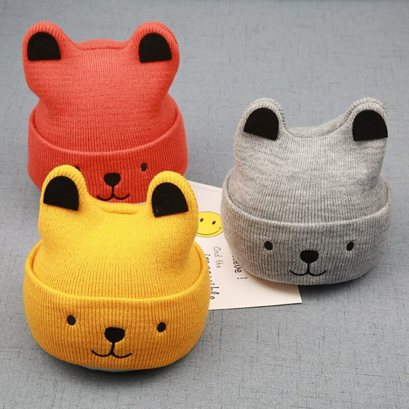 pudcoco 2020 New Baby 3D Cartoon Hat Spring Autumn Baby Hat for Boys Girls Knitted Cap Winter Warm Solid Color Children Hat