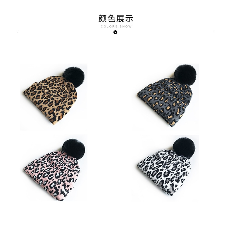 Matching Family Outfits Leopard Children Hats Mother Kids Hats Winter Kids Caps Warm Photography Props Girls Hats Boys Clothing