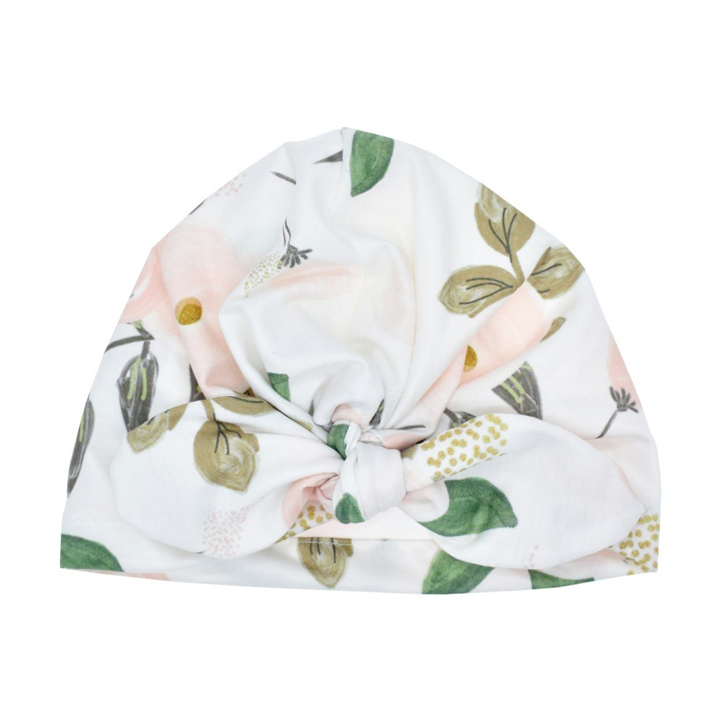 Autumn Newborn Baby Boy Girl Sun Hat Floral Bowknot Cap Boy Turban Photo Props Fashion Knotted Rabbit Ears Baby Cap Sping 2020