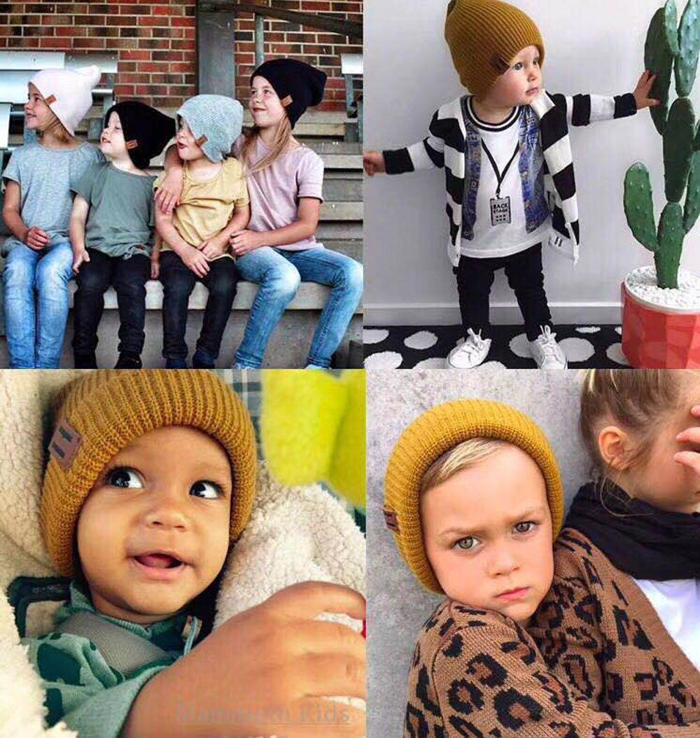 Winter Hats Mom Dad Women Man Toddle Kids Baby Boy Girl Winter Warm Caps Knit Beanie Hat Adults Kids Caps