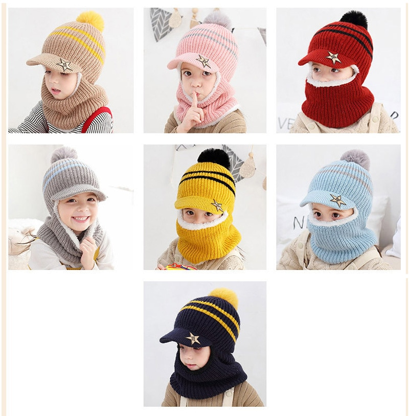 Winter Baby Hat Scarf Boy Girl Joint Cap for Toddler Kids Child Warm Pompom Fashion Star Beanie Knitted Neck Warmer 2-5 Years