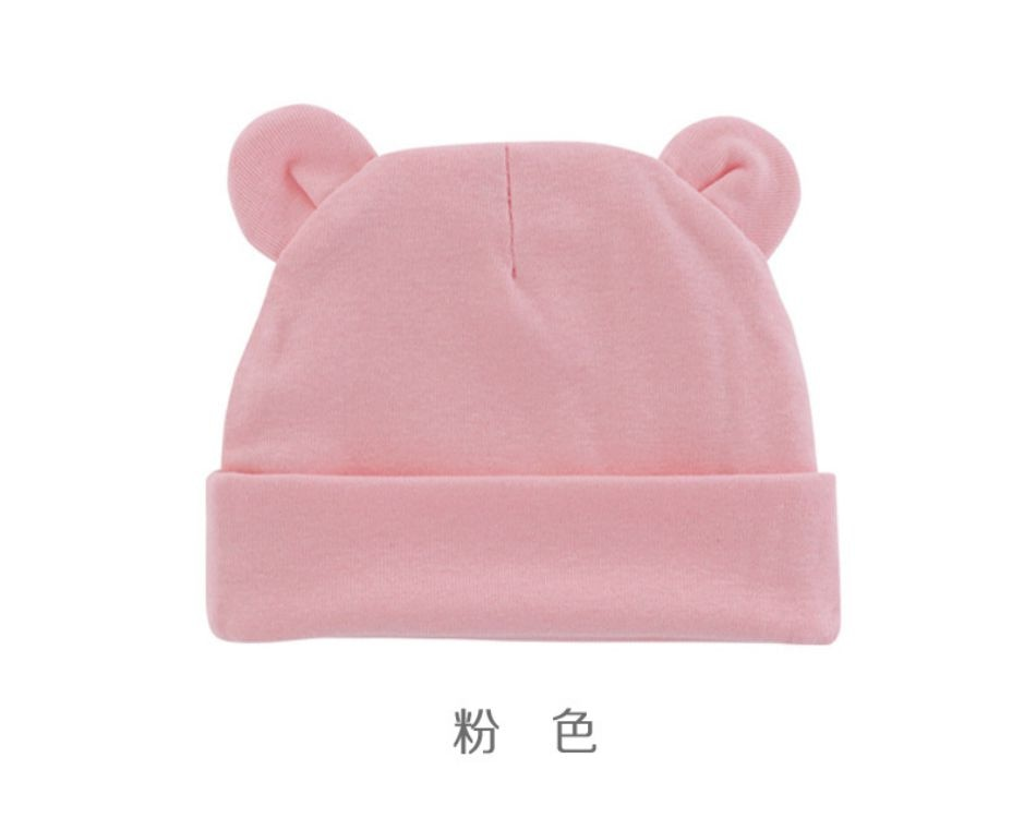 Wholesale Newborn Baby Hat Beanies Cotton Infant Photography Props Boys Girls Solid Color Bonnet Hats With Ears Winter Warm Cap