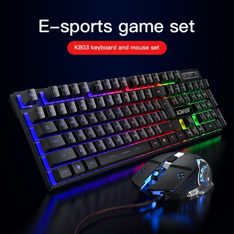 Gaming keyboard and Mouse Wired backlight mechanical felling keyboard Gamer kit Silent 3200DPI Gaming Mouse Set for PC Laptop