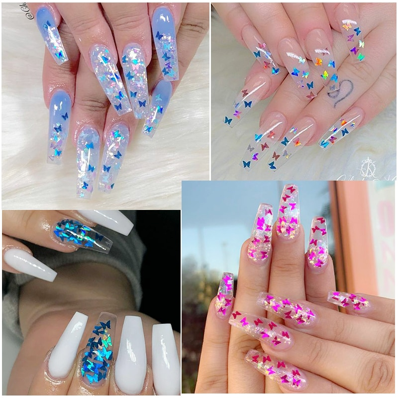 Mirror Sparkly Butterfly Nail Sequins Paillette Mixed Colors Nail Holographics Glitter 3D Flakes Slices Spangle Art Accessories