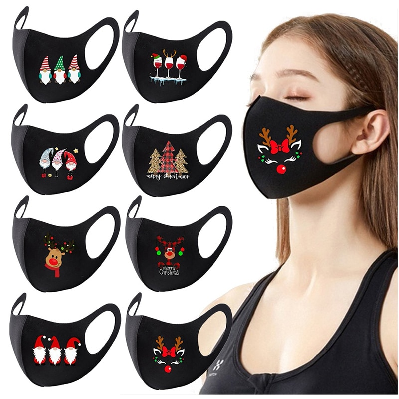 Face Christmas Dustproof  Mask Reusable Colorful Fabric Fashion Washable Outdoor Breathable Face Mask 2020 Hot Sell