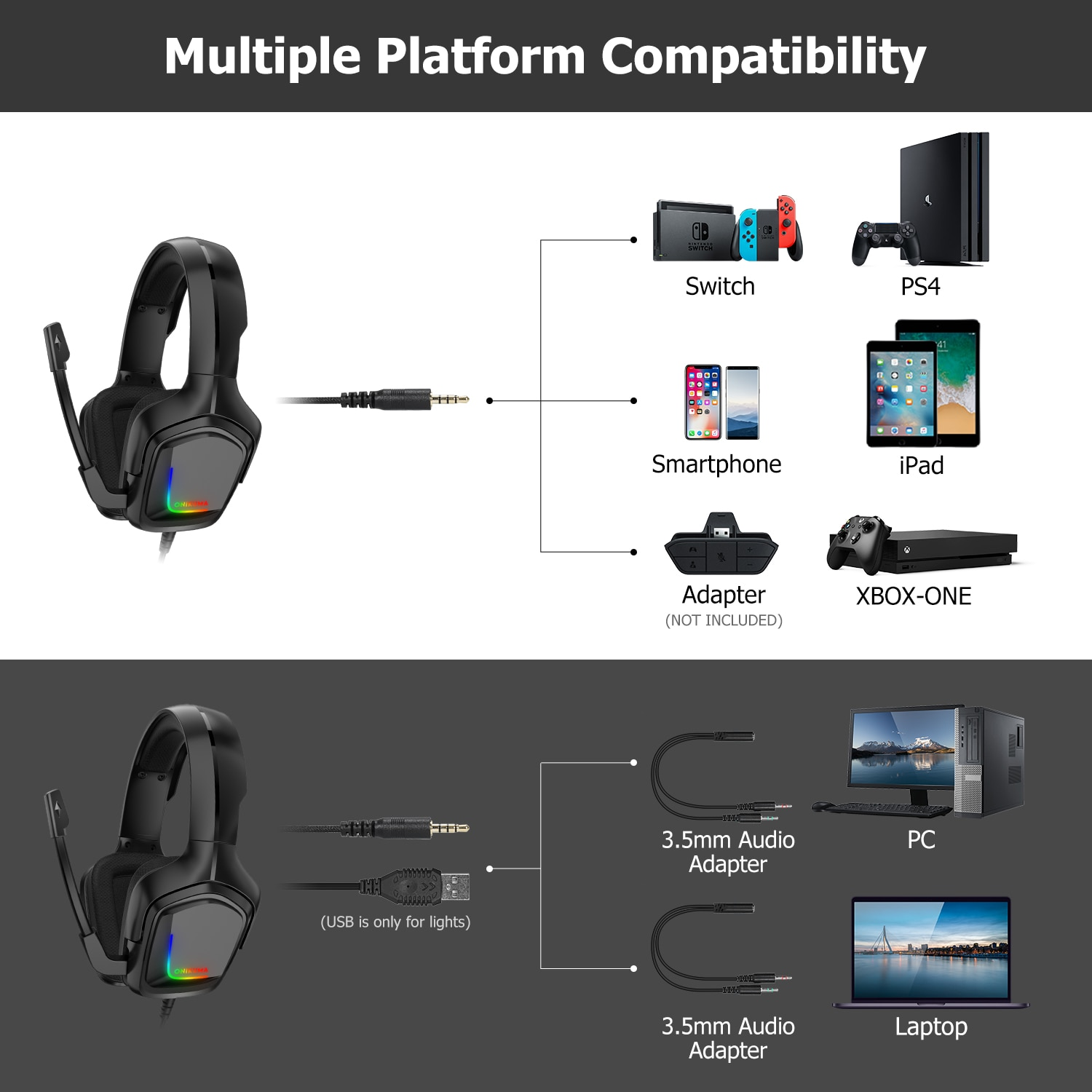 ONIKUMA K20 Head-Mounted Professional Gaming Headset RGB Colorful Lighting Mic PC Phone PS4 XBOX Switch Gamer Wired Headphone