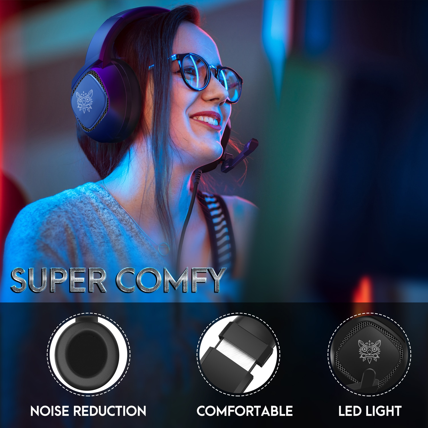 ONIKUMA K19 Head-Mounted Professional Gaming Headset RGB Colorful Lighting Mic PC Phone PS4 XBOX Switch Gamer Wired Headphone