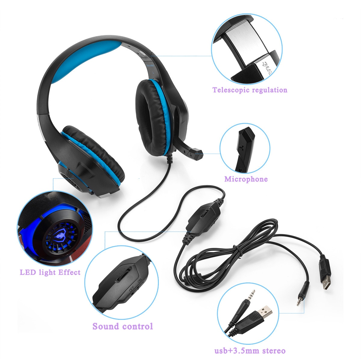 GM-1 Stereo PS4 Gaming Headphones Deep Bass Headsets +Gaming Mice with Microphone LED Light for Phone PC Gamer XOBOX One