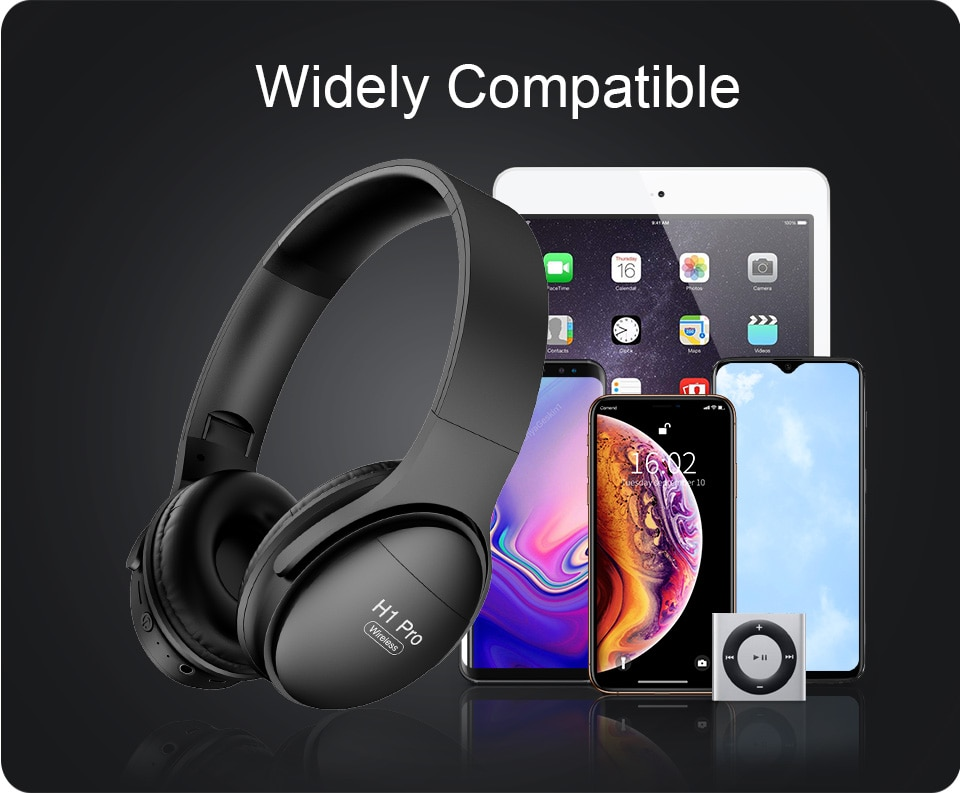 H1 Pro Bluetooth Headphones HIFI Stereo Wireless Earphone Gaming Headsets Over-ear Noise Canceling with Mic Support TF Card