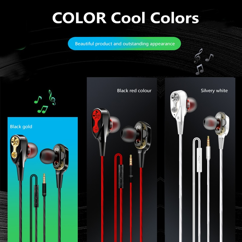 Deep Bass Wired Earphone Dual Drive Stereo In-Ear Earbud Headphones With Noise Cancelling Microphone Sport Gaming Headset