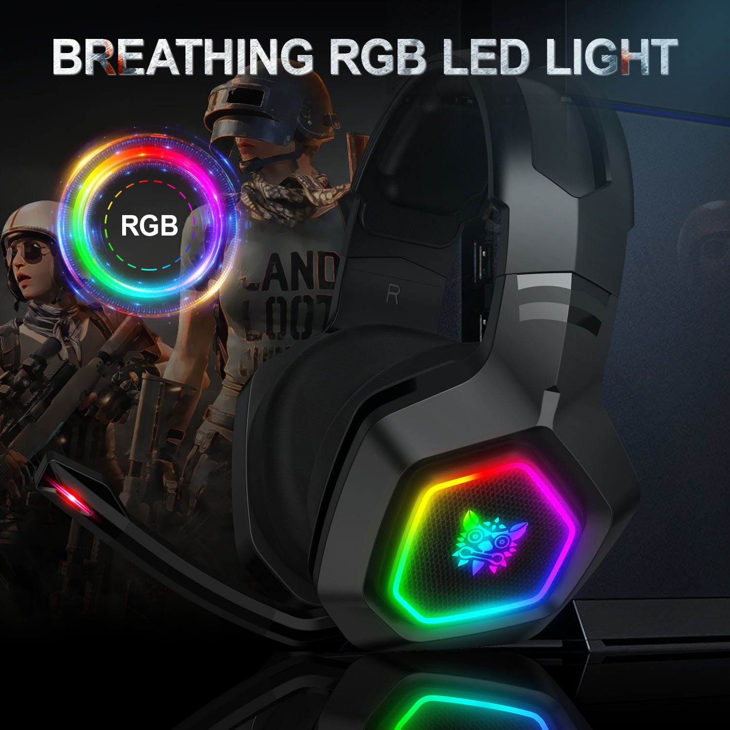ONIKUMA  K10 Head-Mounted Professional Gaming Headset RGB Colorful Lighting Mic PC Phone PS4 XBOX Switch Gamer Wired Headphone