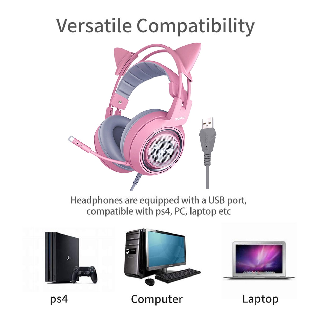 SOMIC Pink Gaming Headset 7.1 Surround-Sound G951 Cat Ear Stereo Noise Cancelling Head Phone Vibration LED USB Headsets for Girl