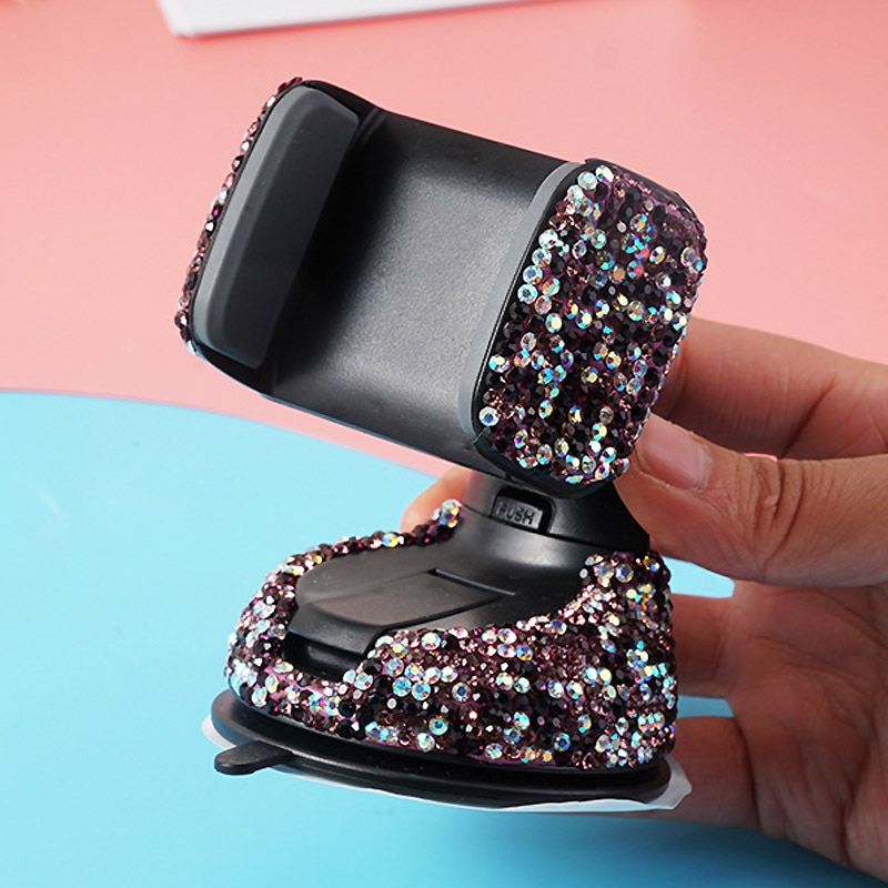 Crystal Rhinestones 360 Degree Car Phone Holder for Car Dashboard Auto Windows and Air Vent Universal Car Mobile Phone Holder