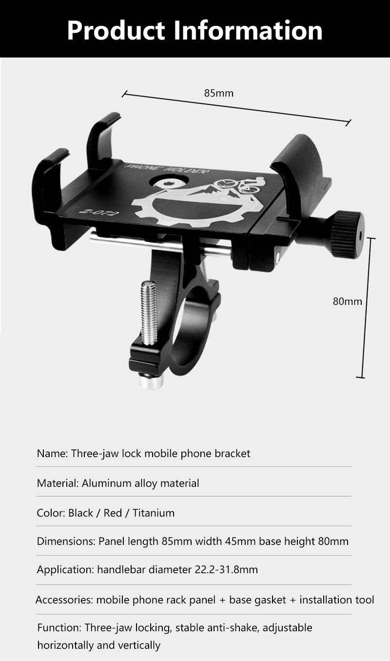 Aluminum Motorcycle Bike Bicycle Phone Holder support 3.5-6.2 inches mobile phones Handlebar Bracket for iPhone Samsung Xiaomi