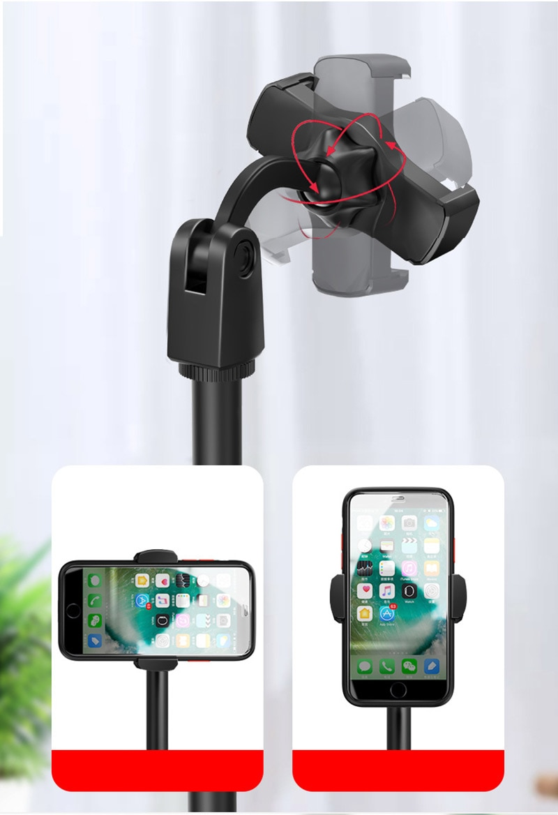 BFOLLOW Desktop Mobile Phone Holder Stand 360 Rotate for Facetime Live Streaming Shoot Video Youtube Round Base Smartphone