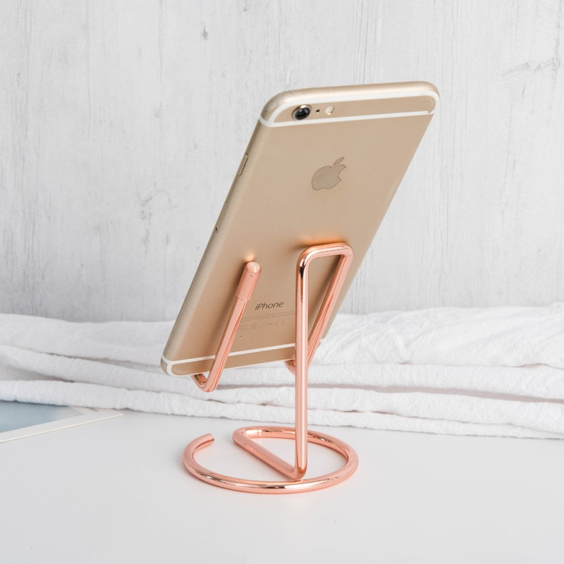 2pcs Mobile Phone Holder Stand Rose Gold Metal Tablet Desk Holders & Stands for iPhone X/8/7/6 Plus Samsung Phone/ipad
