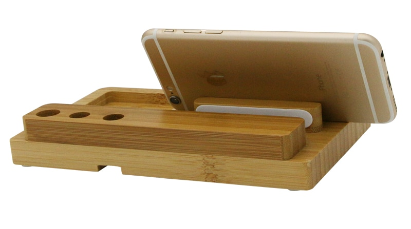 Desktop Mobile Phone Holder Stand for iPad Tablet Bracket Real Bamboo wood Charging Stand for Apple Watch Pad Phone Tablet