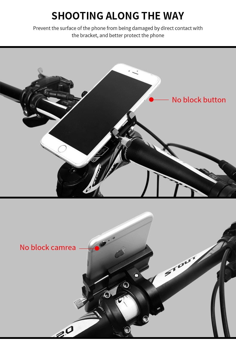 MTB Bicycle Aluminum Alloy Phone Stand Fit 3.5-6.2 Inch Light Don't Drop Mobile Phone Smart Adjustable Bike GPS Holder Xiaomi