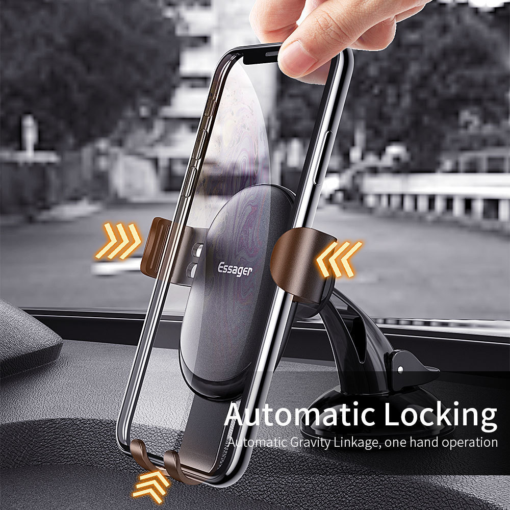Essager Gravity Car Phone Holder For Samsung Xiaomi Universal Mount Sucker Holder For Phone in Car Mobile Phone Holder Stand