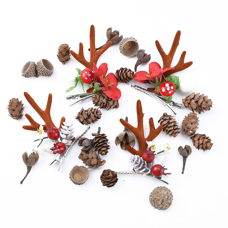 50PCS MINI Lovely Natural dried flower Pinecone series christmas decorations for home diy gifts box artificial plants wholesale