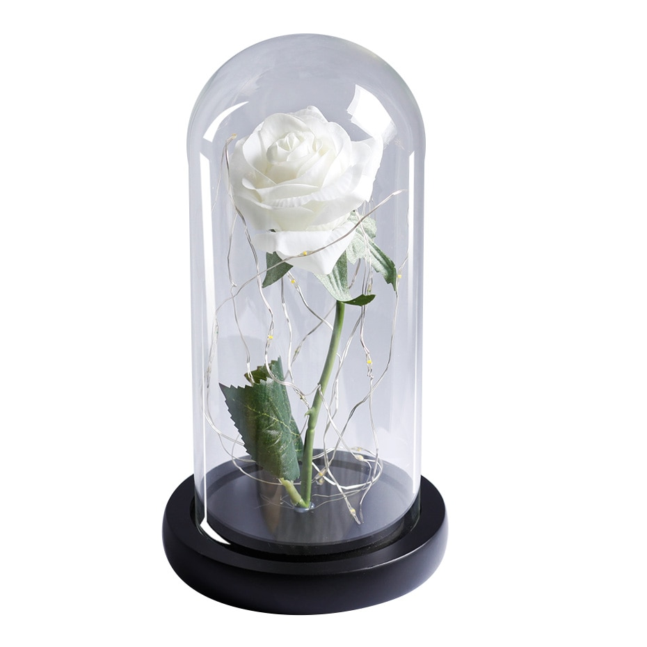 Artificial Eternal Rose  LED Light Beauty The Beast In Glass Cover Christmas Home Decor For Mother Valentines Day new Year Gift