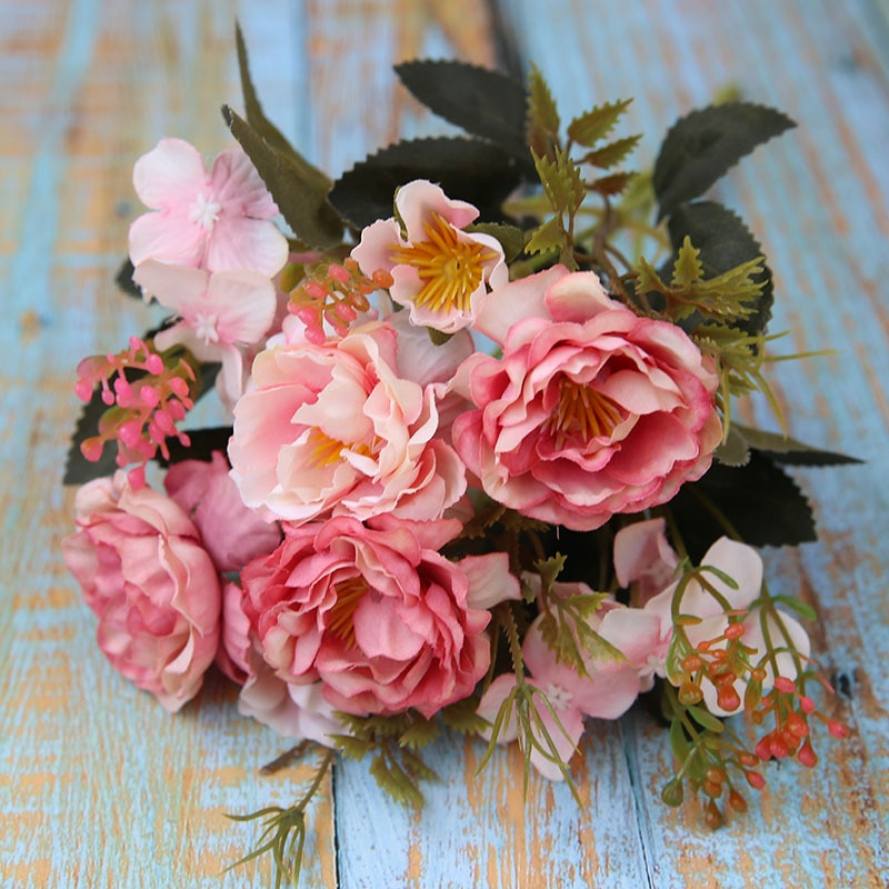 5 Forks(8 Heads)Artificial Flowers Small Peony Bouquet Wedding Decorative Flowers Wreaths Vases for Home Decoration Accessories