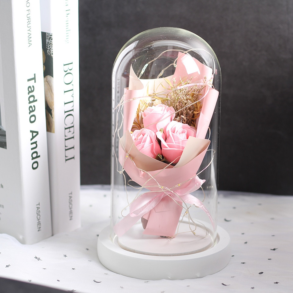 A bunch of Red Rose Artificial flowers In a Glass Dome on a White Base  Home Decoration for Valentine's Gifts mother day gift