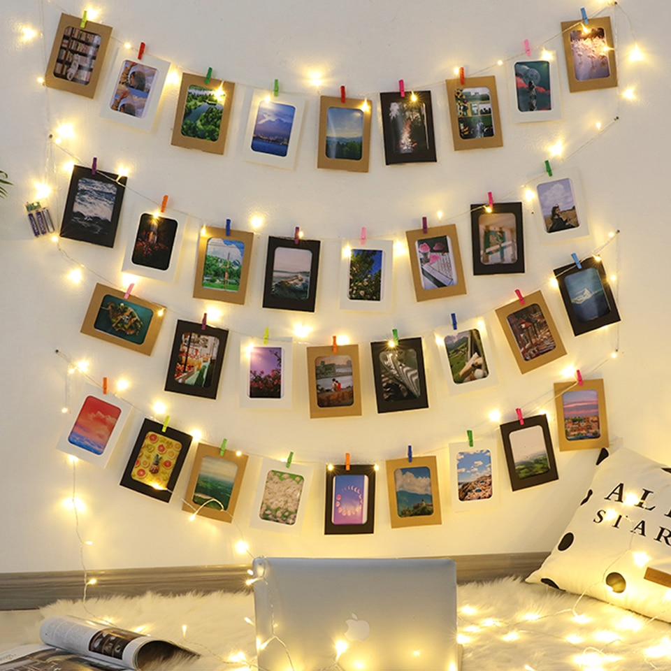 LED String light 5M 10M Photo Clip USB LED Fairy Lights Battery Operated Garland Bedroom Home Party Wedding Christmas Decoration